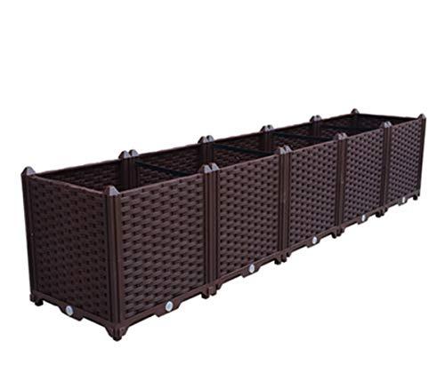 イーオンハム組立式ガーデンボックスプランターボックスプラスチック園芸鉢植え入れ花、植物、野菜栽培自由組立滑車付けブラウン二階5セット
