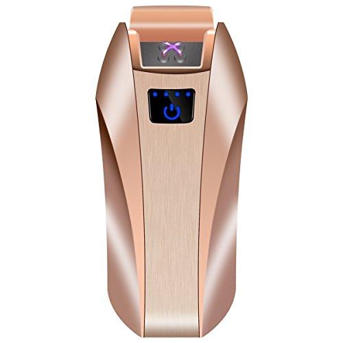 Elektronisches Feuerzeug Doppelkreuzboge Elektrisches USB Plasma Wiederaufladbar Flammenlos Windsicher Touch-Knopf-Feuerzeug gut für Zigarren Zigaretten, Kerze Pfeife