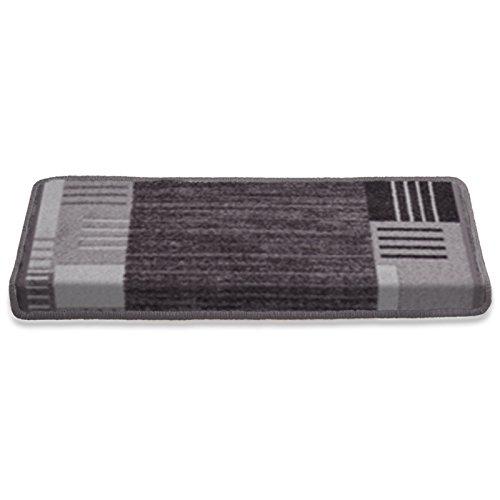 Stufenmatte mit zeitloser Musterung | grau | Qualitätsprodukt aus Deutschland | GUT Siegel | kombinierbar mit Läufer | 65x23,5cm | rechteckig | einzeln oder im Set (1 Stück)