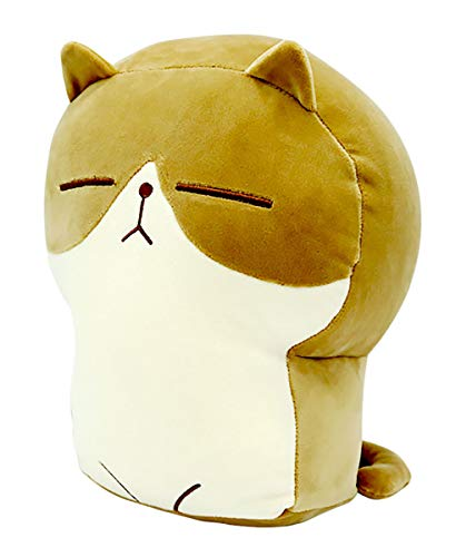 Plush Cat Doll Pillow Stuffed Chubby Cat Cute Fluffy Soft Plush Bread Toast Cat Cushion Animal Pillow for Kids (Brown, 13 inch)