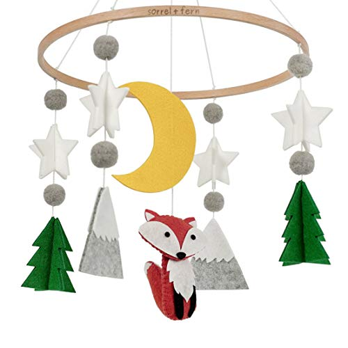 Sorrel and Fern Baby Crib Mobile Starry Woodland Night...