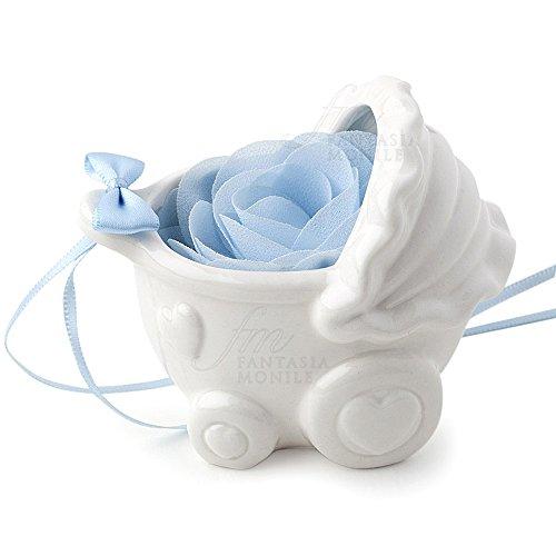 Hervit - Cochecito de porcelana blanca con pétalos, flor celeste, bombonera para...
