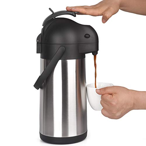 2.2 Liter Airpot Thermal Coffee Carafe with Pump/Lever Action/Stainless Steel Insulated Thermos / 12 Hour Heat Retention / 24 Hour Cold Retention / 74 Ounce Pump Coffee Pot