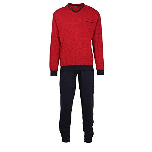Götzburg Herren Pyjama, Schlafanzug, Oberteil und Hose - Langarm, Baumwolle, Single Jersey, rot, Bedruckt, mit Bündchen 48