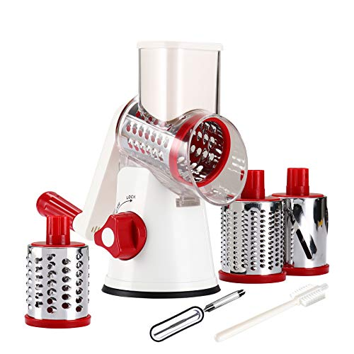 Tevokon Cheese Grinder Rotary Cheese Shredder Multi Blade Rotary Grater Nonslip Nut Slicer Vegetable Shredder Food Preparation Round Mandoline with Peeler