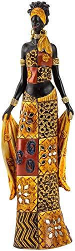 Modern sculptuur deco figuur Afrikaanse vrouw staand met kleurrijke kleding en doek hoogte 35 cm