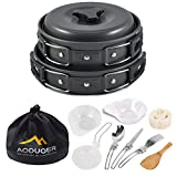 Aoduoer Camping Cookware Mess Kit Outdoor Cooking Equipment Cookset Camp Pot Pan Bowls - Free Folding Utensil Set, Mess Bag | Lightweight, Compact, Durable for Backpacking Hiking Scouts