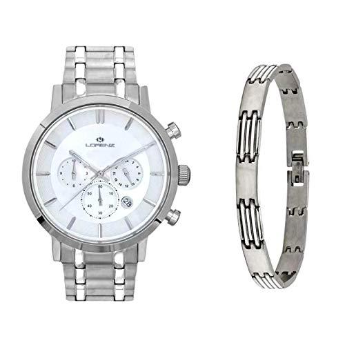 Reloj cronógrafo Lorenz para hombre 17654AA más pulsera de acero de regalo