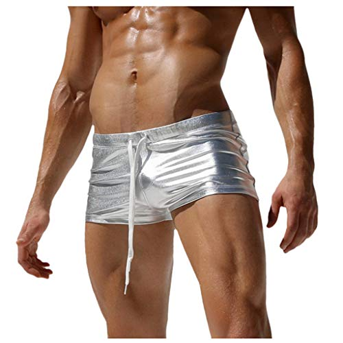 Xmiral Herren Sommer Mini Badeshorts Fitness Persönlichkeit Bad Shorts für Strand Schwimmen Taschen Boxer Bad Shorts(2- Silber,S)