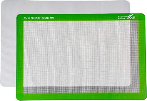 Precision Fusing Mat (12' x 18') Includes Non-Slip mat with See-Through Design for Appliqué Creation, and Bonus Teflon Coated Pressing Sheet!
