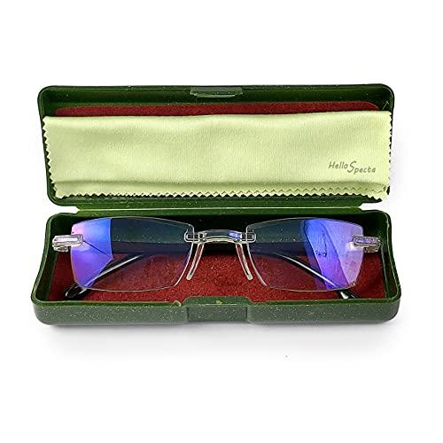 Hellospecta Plus Power Near Vision Blue Ray Cut Rimless/Frameless reading glasses for men and women