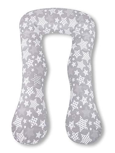 Amilian® Kissenbezug für Schwangerschaftskissen Lagerungskissen Relaxkissen Sternchen Grau GROß TYP A