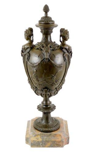 Kunst & Ambiente - vaas van echte brons op marmeren sokkel - gesigneerd - vlamand - ampfore - exclusieve decoratie - luxe vaas