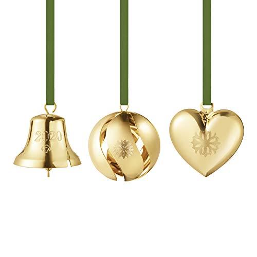 Georg Jensen Weihnachtsgeschenkset 3 Stück - Weihnachtsglocke, Herz und wirbelnde Spielerei in Goldmessing von Sanne Lund Traberg