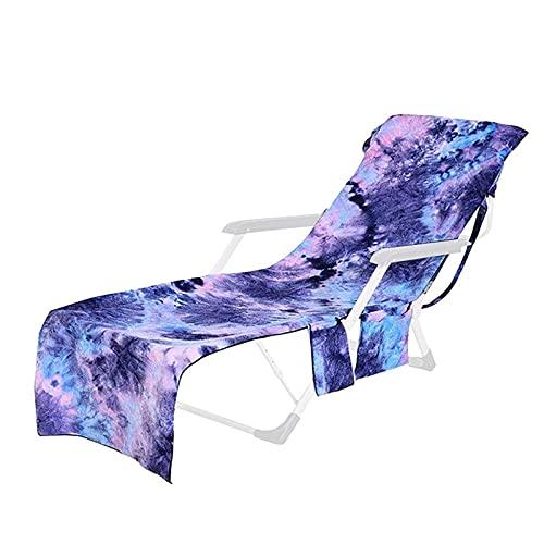 SHAIYOU Telo da Mare,Microfibra Telo da Spiaggia Telo da Sole Copertura per Chaise Lounge,Portatile Rivestimento per Lettino Asciugamano per Sedia di Sdraio con Tasche,75 * 210cm (Purple)