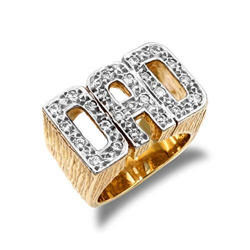 Jewelco London Men's Solid 9ct Yellow Gold White Round Brilliant Cubic Zirconia Barked Sides DAD Ring, Size Z
