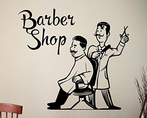 Tianpengyuanshuai Barber Shop Wandaufkleber Friseursalon Vinyl Aufkleber Friseur Wanddekoration 46X42cm