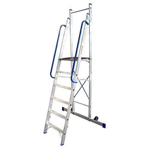 Alumexx Plateau-Ladder - 6 Treeds - Platform - Ladder - Aluminium - Ladder - Inklapbaar - Met Wielen - Plateauhoogte 1.44 m - Werkhoogte 3.44 m
