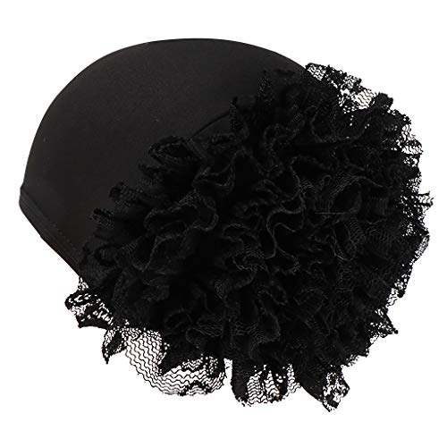 Litetao Chemo Cancer Full Cap Shower Cap Women Appliques Hat Head Scarf Wrap (Free Size, Black)
