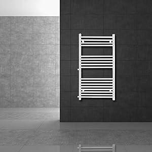 ECD Germany Radiador toallero - 500 x 1200 mm - Blanco - Plano - Con conexión lateral - Calefacción de baño - Radiador estilo escalera - Radiador secador y calentador de toallas - No electrico