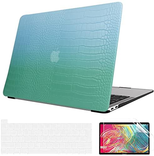 AOGGY - Custodia per MacBook Pro da 13 pollici, 2020 Release A2338 M1/A2289/A2251, 2020 MacBook Pro 13 pollici, custodia in pelle con copertura per tastiera e protezione schermo, colore: Verde Asakusa