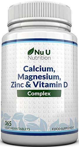 Calcium, Magnesium, Zinc & Vitamin D Supplement | 365 Vegetarian Tablets | 6 Month Supply of Nu U...