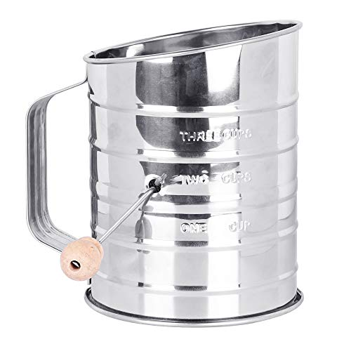 Flour Sifter, McoMce Sifter for Baking, Stainless Steel Hand Crank Flour Sifter with 3-Cup Measuring, Double-Layer Hand-Pressed Flour Sieve, Sugar Powder Sieve Cup - Practical Baking Tool for Home