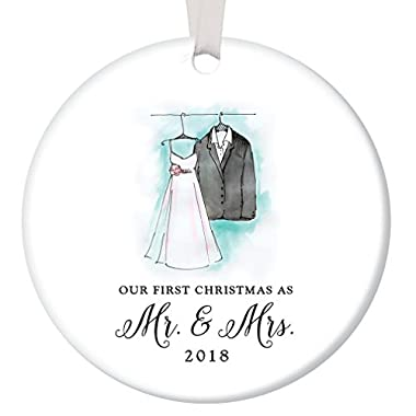 Our First Christmas as Mr & Mrs Ornament 2018, Wedding Gift Porcelain Ornament, 1st Married Christmas, 3  Flat Circle Christmas Ornament w Glossy Glaze, White Ribbon & Free Gift Box | OR00018 Gracen