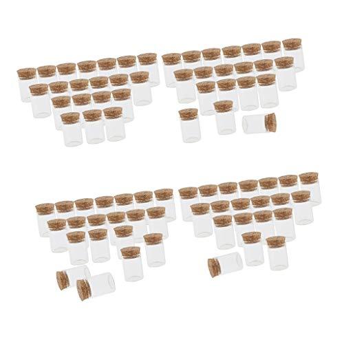 Bonarty - Botellas de Cristal con tapón de Corcho, vacías, 80 Unidades