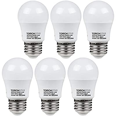 TORCHSTAR 4.5W A15 LED Light Bulb, 40W Equivalent Light Bulb, UL-Listed, E26/E27 Medium Base, 5000K Daylight, Omni-Directional for Ceiling Fan, Desk Lamp, Floor Lamp, Pack of 6