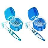 4 Pcs Professional Denture Kit False Teeth Denture Case Cup Base Holder Box Container Soaking Denture Bath with Strainer Basket & Denture Brush For Travel Cleaning Overnight Soaking Sort Blue Green