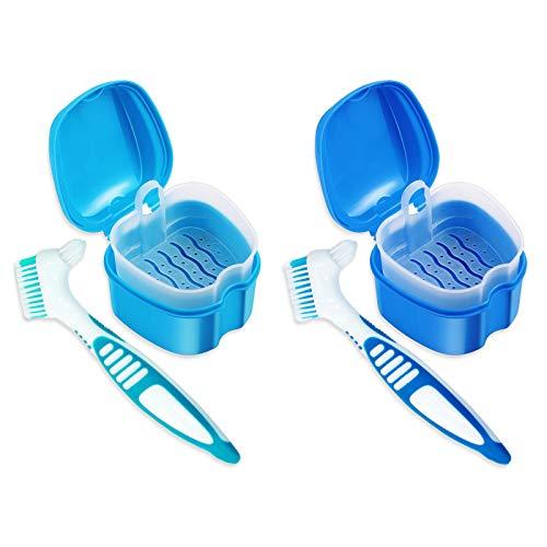 4 Pcs Professional Denture Kit False Teeth Denture Case Cup Base Holder Box...