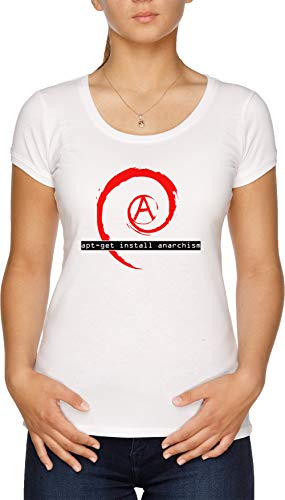 Apt-Get Install Anarchism Camiseta Mujer Blanco