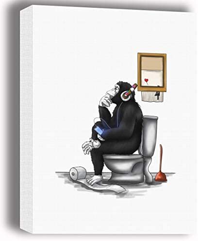 Blanche Gifts Black and White Banksy DJ Thinking Monkey Sitting on Toilet Seat Canvas Wall Art product image