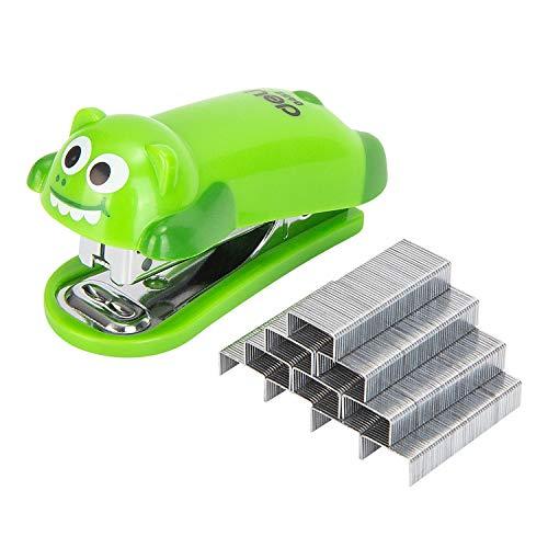Deli Mini Cute Crocodile Desktop Stapler, Office Stapler, 12 Sheet Capacity, Includes Built-in Staple Remover & 1000PCS No.10 Staples