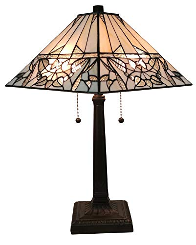 Amora Lighting AM308TL14 Tiffany Style White Mission Table Lamp, 14W x 22H