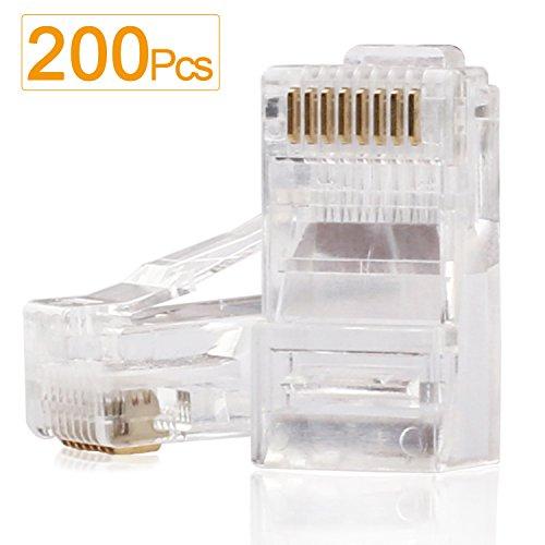RJ45 Ends,SHD RJ45 Connectors Cat6 Connector Cat5e Connector Cat5 Connectors Ethernet Cable Crimp Connectors-200Pcs