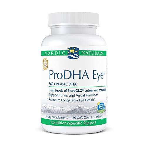 Nordic Naturals ProDHA Eye, Lemon - 60 Soft Gels - 1460 mg Omega-3 + FloraGLO Lutein & Zeaxanthin - Long-Term Eye Health, Brain & Visual Function - Non-GMO - 30 Servings