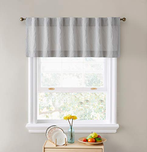 HLC.ME Camden Double Layer Thermal Insulated Blackout Decorative Back Tab Tailored Curtain Valance Topper for Kitchen, Bathroom, Basement and Small Windows - 50 W x 18 L, Light Grey