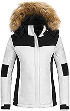 Wantdo Women's Waterproof Ski Coat Warm Winter Snowboarding Jacket with Detachable Hood White S
