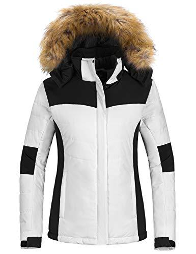 Wantdo Women's Windproof Snowboard Jacket Hooded Fleece Ski Coat Winter Outwear White XL