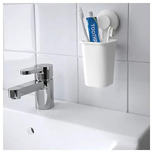 IKEA TISKEN Toothbrush Holder with Suction Cup, White with