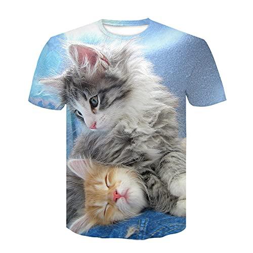 Animal Cat Camiseta para Hombre con Estampado en 3D, Camisetas Informales de Verano de Secado rápido, Novedad, Camiseta de Manga Corta-XL