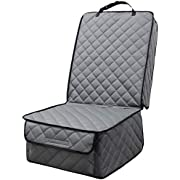 HAPYFOST Waterproof Front Seat Cover Dog Car Seat Covers Nonslip and Full Protection with Side Flaps Fits Most Cars, Trucks, SUVs(Grey)