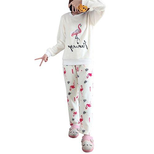 GWELL Damen Pyjama Flamingo Motiv Schlafanzug Set Flanell Zweiteiliger Langarm Nachtwäsche Winter M
