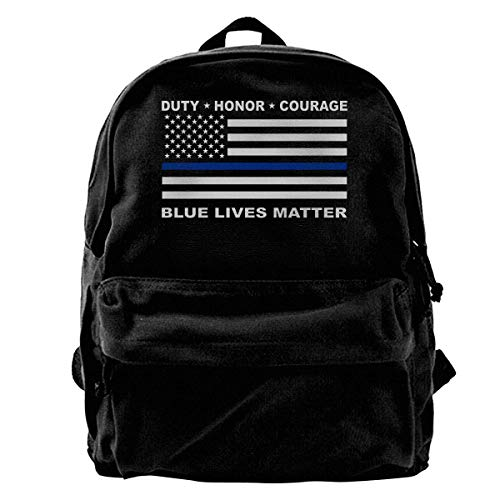 NJIASGFUI Rucksack aus Segeltuch, Blau Lives Matter Police Blue Line Us Flag Rucksack, Gym Wandern Laptop Schultertasche Daypack für Herren Damen