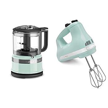 KitchenAid KFC3516IC 3.5 Cup Food Chopper Ice & KHM512IC 5-Speed Ultra Power Hand Mixer Ice Blue