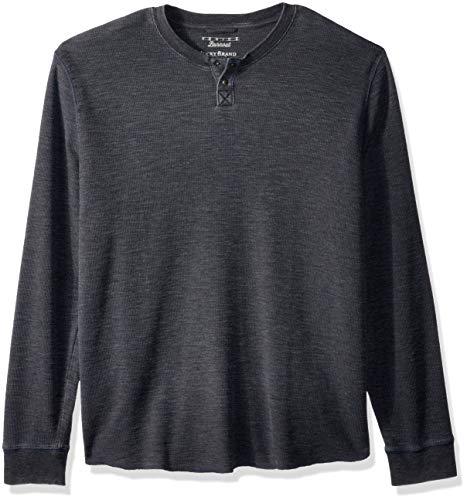Lucky Brand Men's Venice Burnout Thermal Henley Shirt, Pirate Black, S