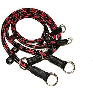 "ZOOLESZCZ Black-Red HandMade Strong Rope Rolled Slip Dog Choker Choke Collars with black leather (16""):Ukcustomizer"