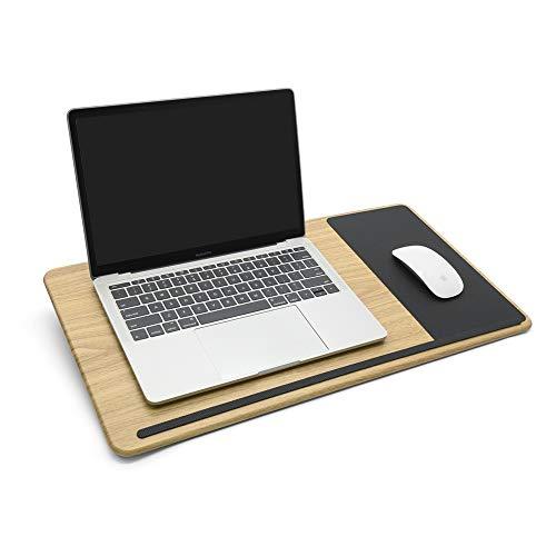 ergomi Escritorio portátil con cojín suave, soporte de muñeca, doble cara, bandeja de cama para ordenador portátil, ideal para leer, escribir, usar ordenador portátil, madera grande